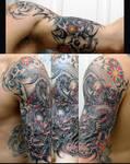 Dragon n Skulls half sleeve