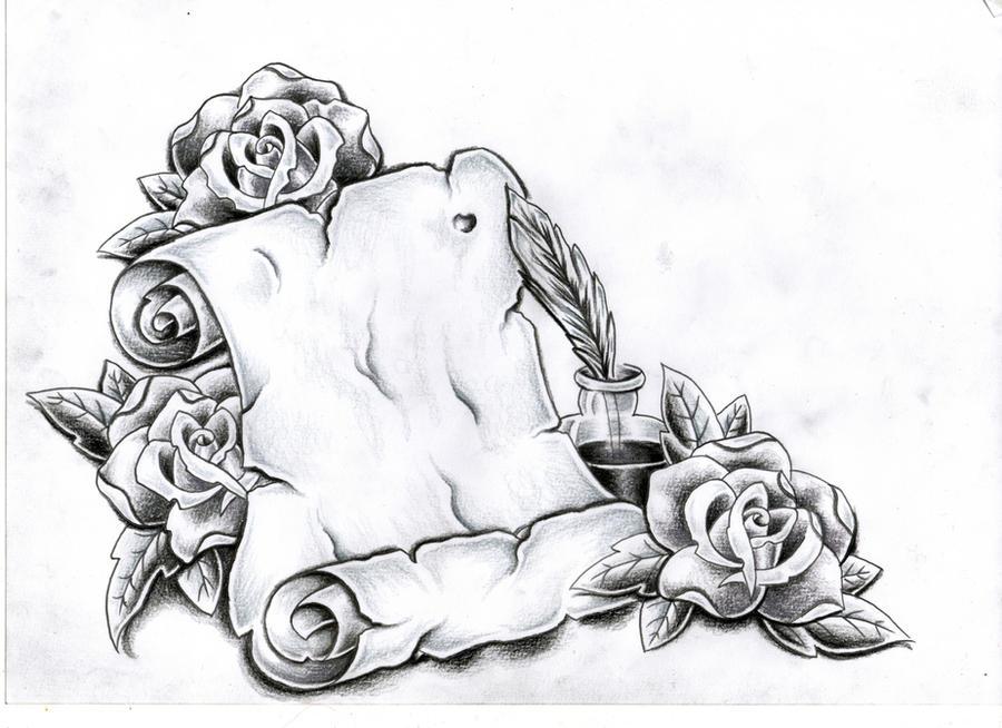 Custom scroll and rose's by Ashtonbkeje