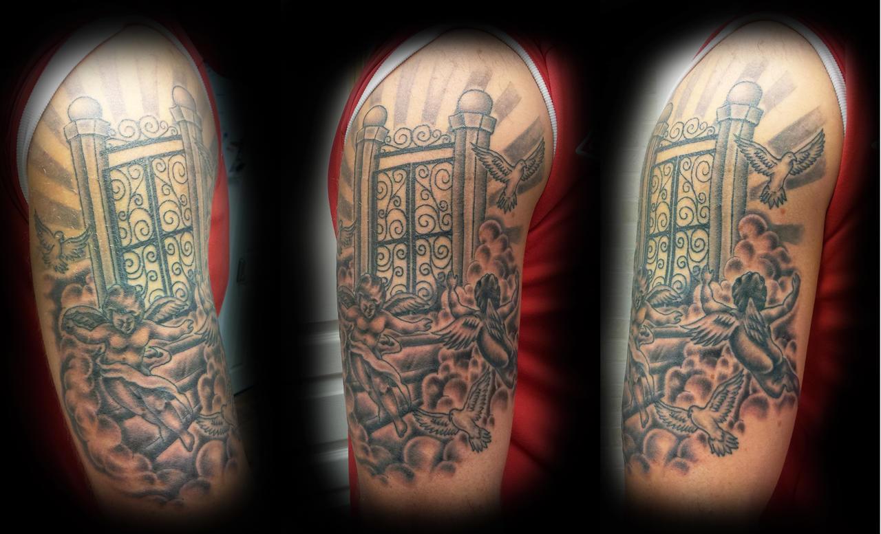 golden gates of heaven tattoo the image kid has it. Black Bedroom Furniture Sets. Home Design Ideas
