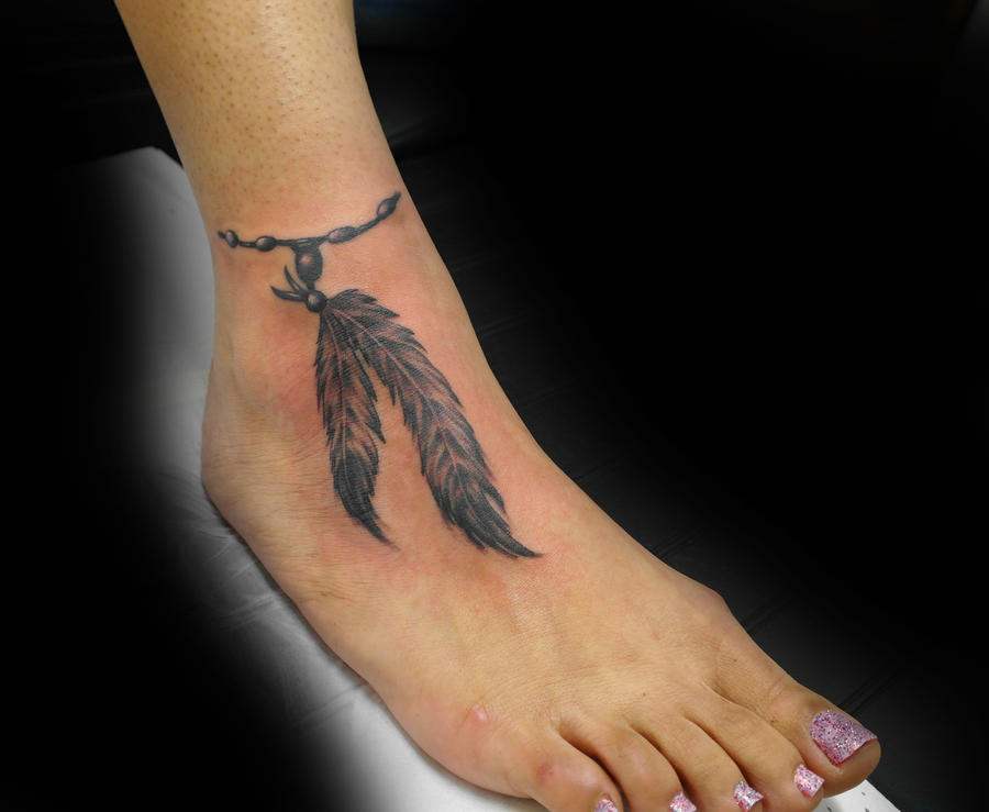 Feathers on foot 2 by ashtonbkeje on deviantart for Feather on foot tattoo