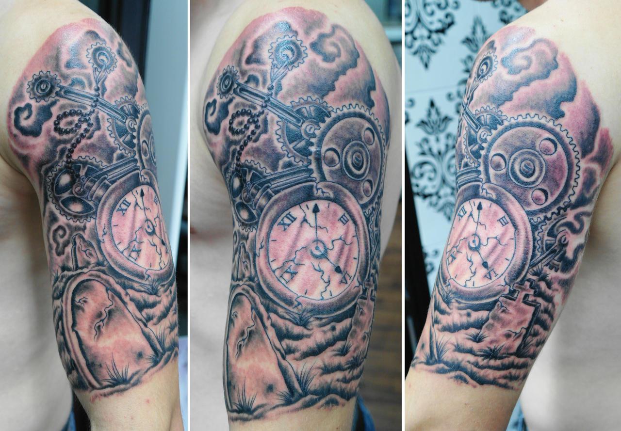 Custom watch and gear cogs half sleeve (4) by Ashtonbkeje