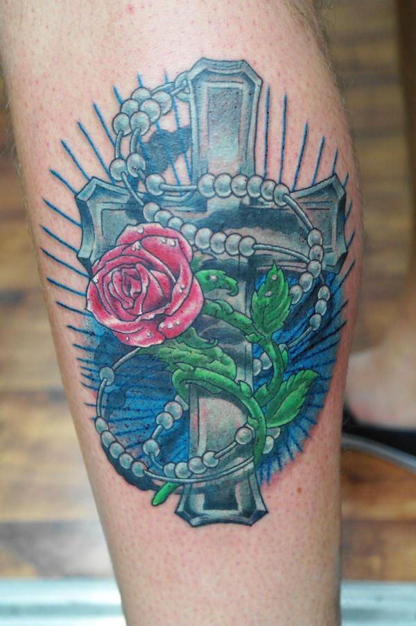 Cross with rose (2) by Ashtonbkeje