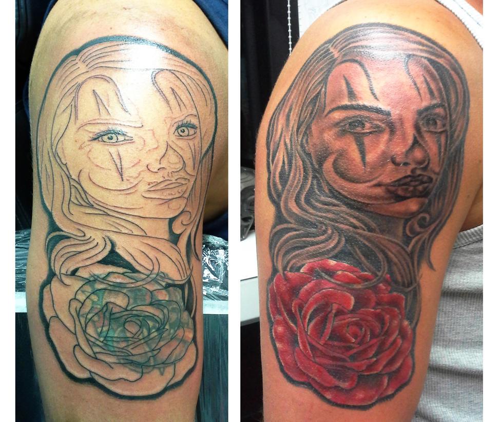 Chicano clown girl cover up by ashtonbkeje on deviantart for Chicano clown girl tattoos
