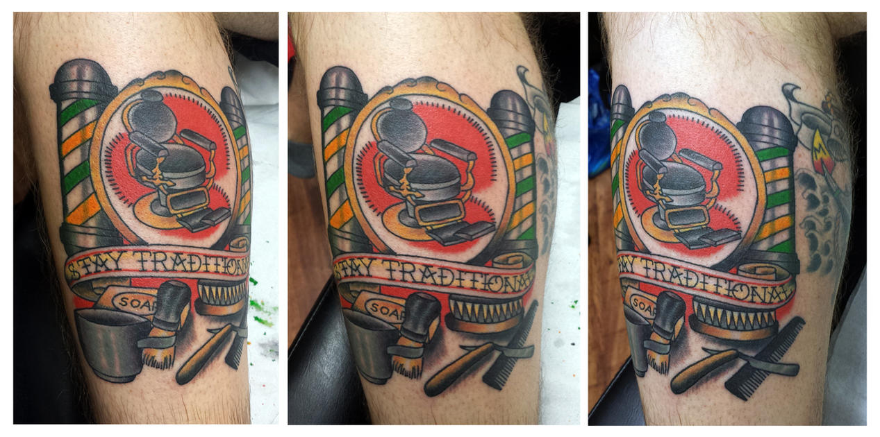 Traditional barber tattoos images for Barber neck tattoos