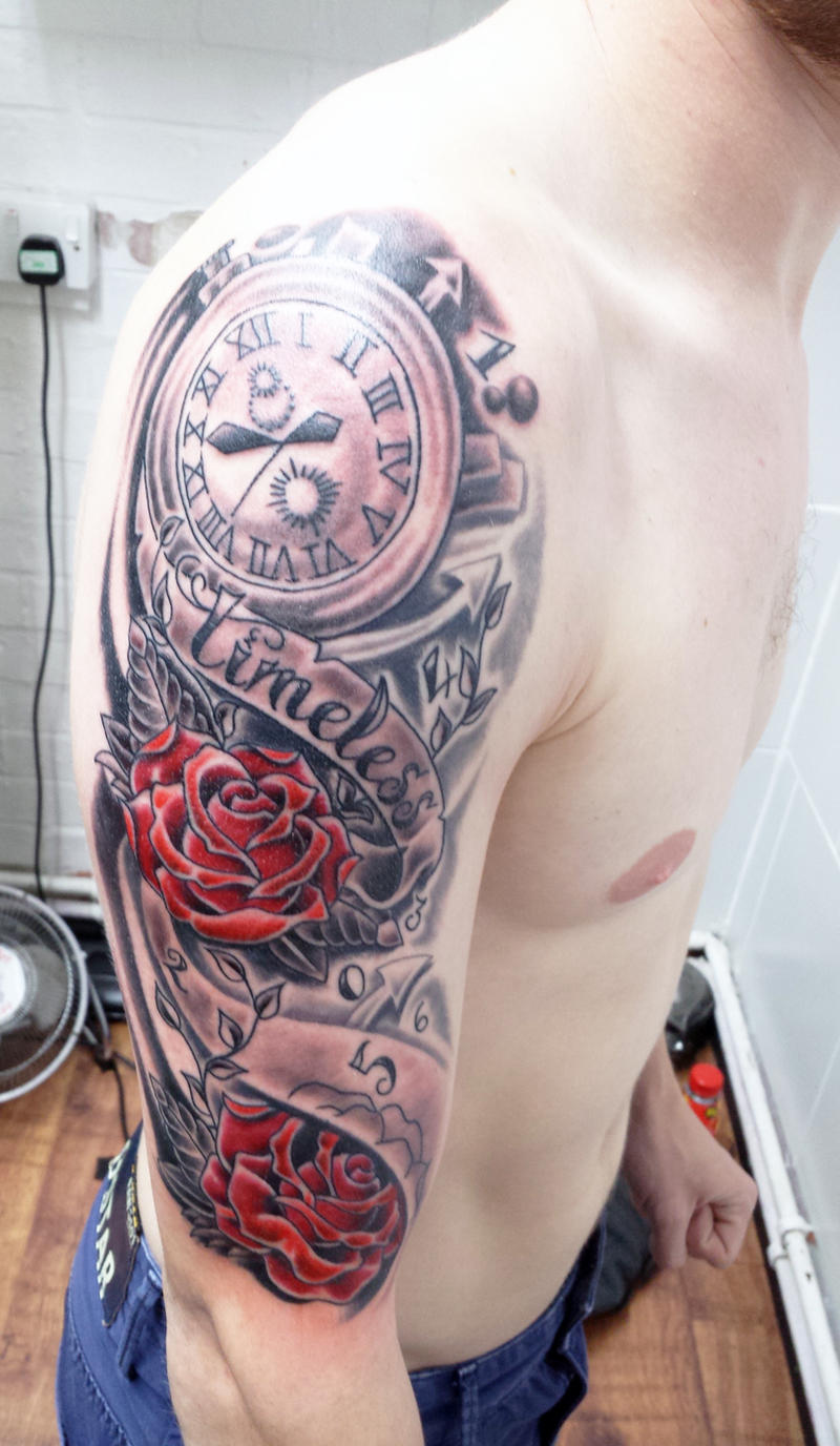 the gallery for hourglass half sleeve tattoo. Black Bedroom Furniture Sets. Home Design Ideas
