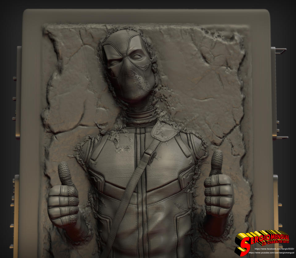 Deadpool in Carbonite 1/4 Statue for 3D printing 2 by SergioMengual2012