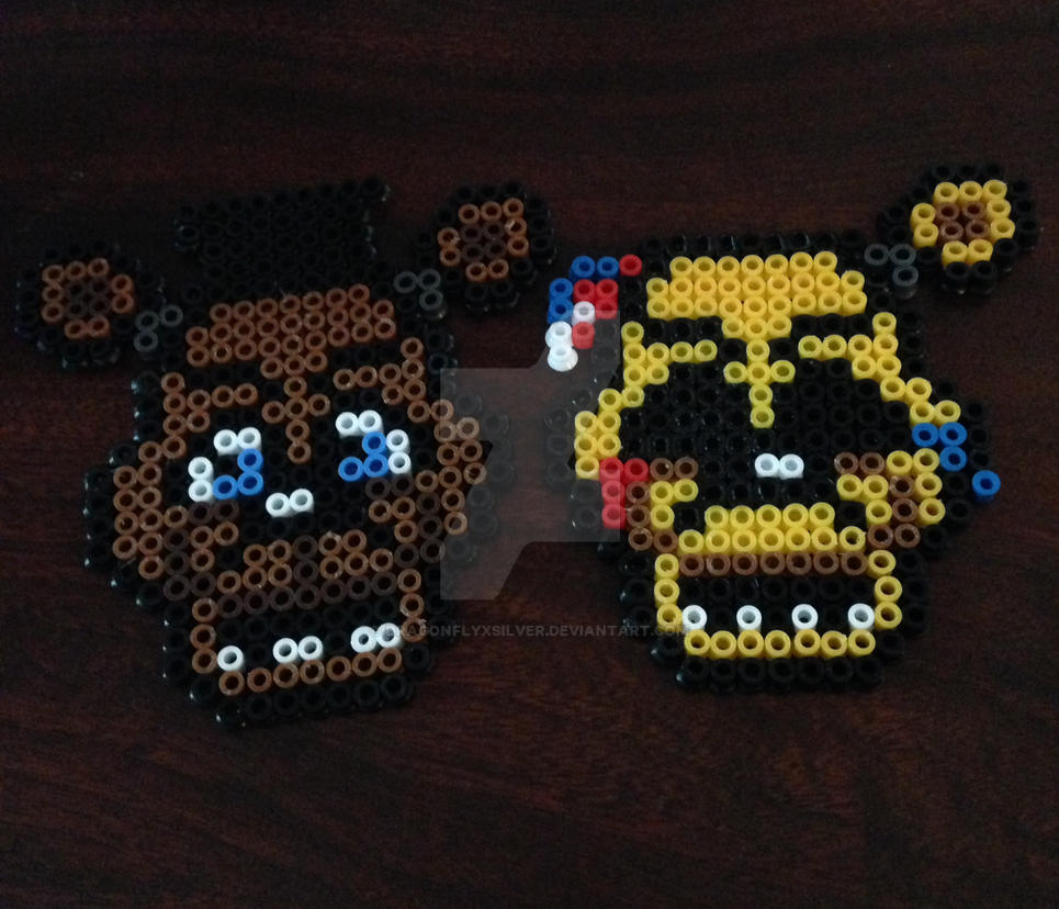 Freddy and Golden Freddy Perler Sprite Badges by dragonflyxsilver