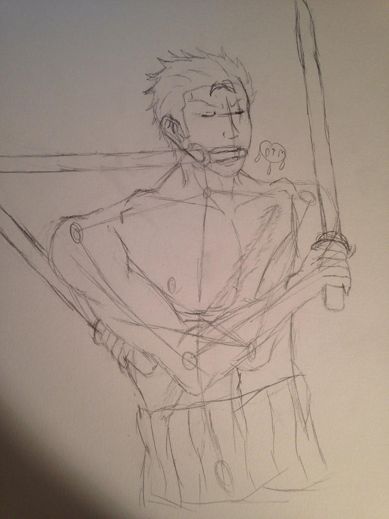Zoro sketch by dragonflyxsilver