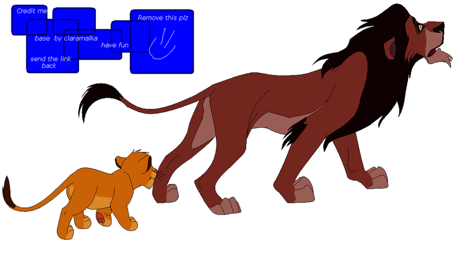 FREE Scar and simba base-1 {request} by claramalka