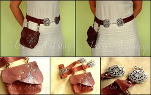 Leather belt with a bag by izasartshop