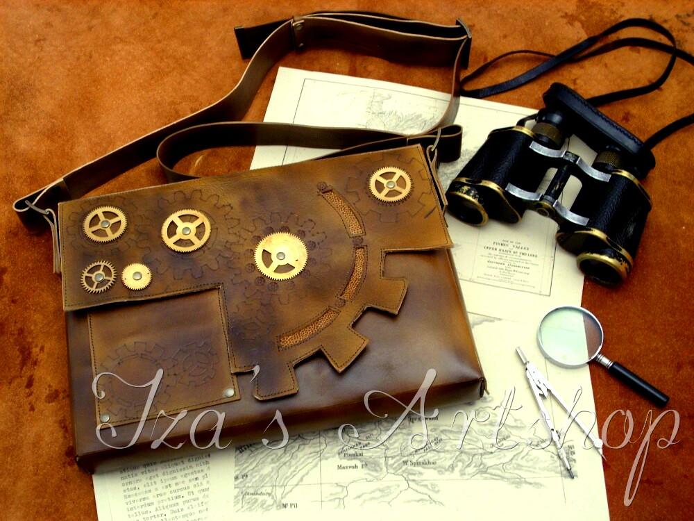 Large steampunk leather messenger bag by izasartshop