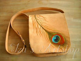 Peacock's Treasure leather messenger bag by izasartshop