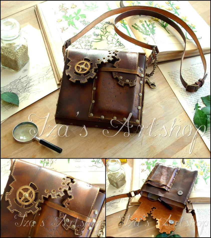 Steampunk Leather Pouch III by izasartshop