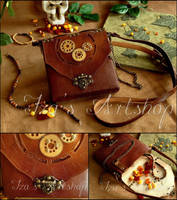 Steampunk Leather Pouch XI by izasartshop