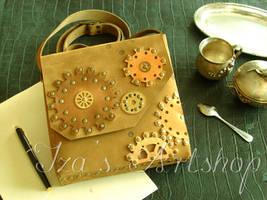 Steampunk Nubuck Shoulder Bag by izasartshop