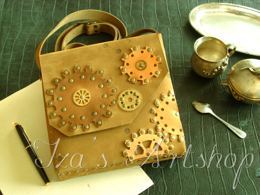 Steampunk Nubuck Shoulder Bag by izasartshop