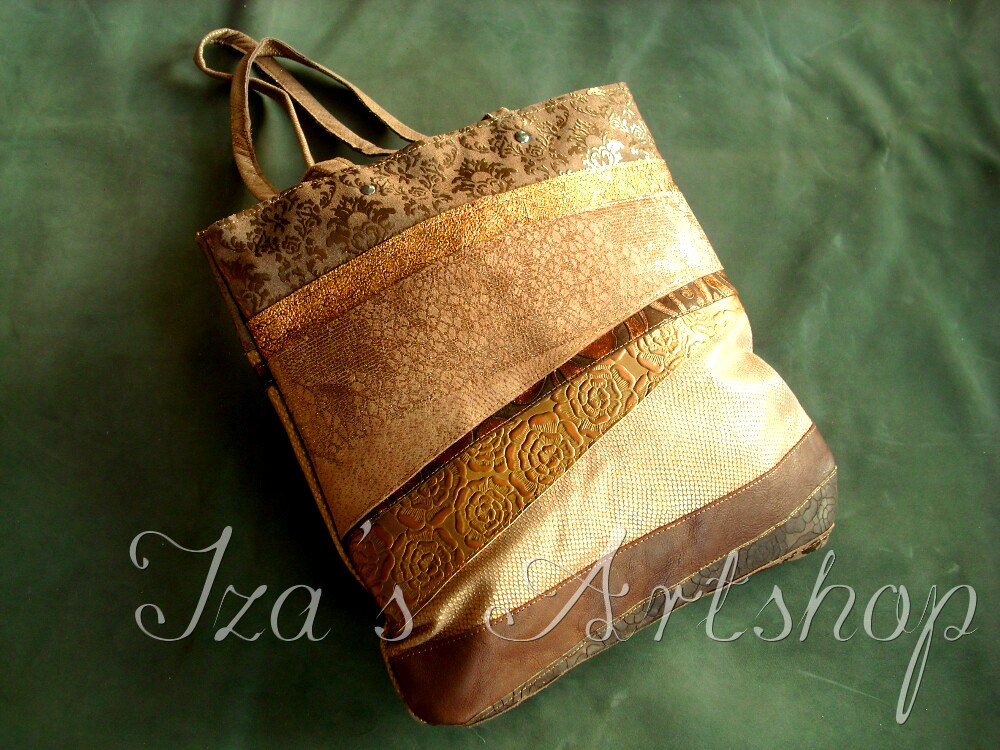 Golden Patchwork Leather Tote Bag by izasartshop