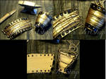 Golden Scales Leather Cuffs
