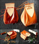Red and Orange Medieval Leather Pouches