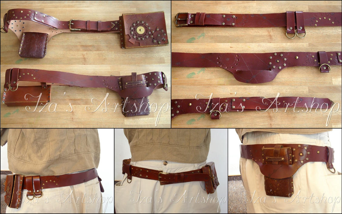 Steampunk Leather Belt Set by izasartshop