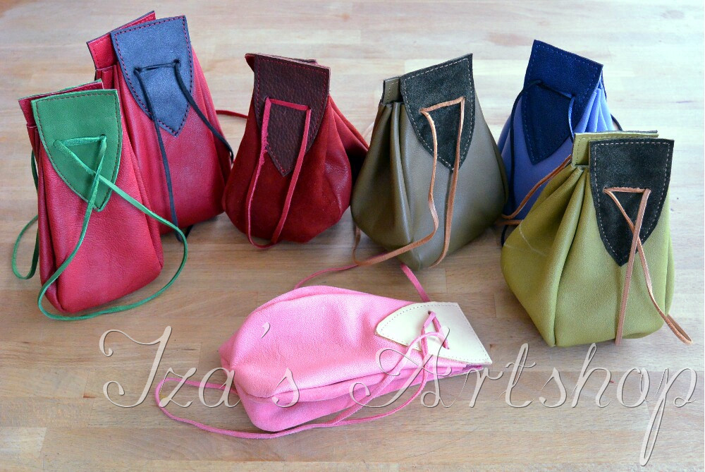 Colorful medieval leather pouches by izasartshop