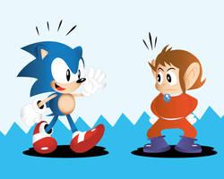 When Alex Kidd met Sonic the Hedgehog by Linkabel32