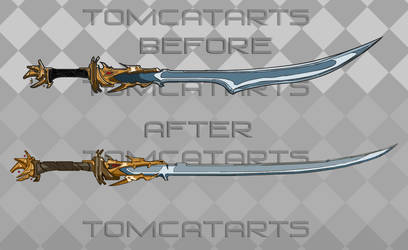 Lineart: Auspicious Katana (Then and Now) by TomcatArts