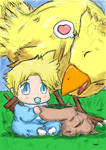 Baby Cloud and Chocobo