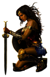 Wonder Woman: Kneeling - Transparent Background!