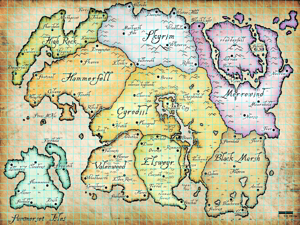 Map Of Tamriel With Scale Elder Scrolls Online