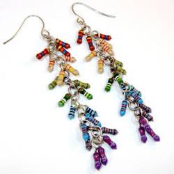 Recycled Resistor Long Spiral Cluster Earrings by Techcycle