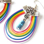 Rainbow Silver Clouds Computer Electronics Earings