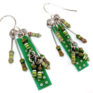 Circuit Boards and Electronic Resistor Earrings