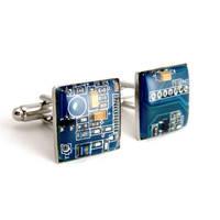 Blue Recycled Circuit Board Cufflinks