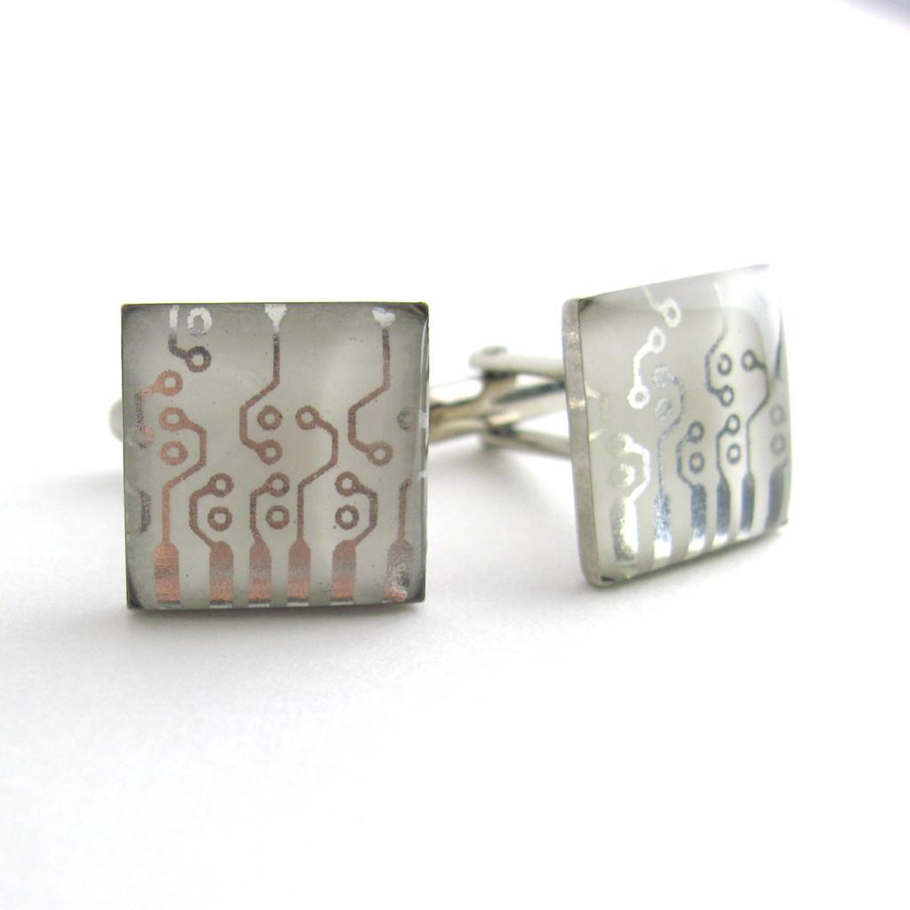 Metallic Silver Circuit Design Cufflinks
