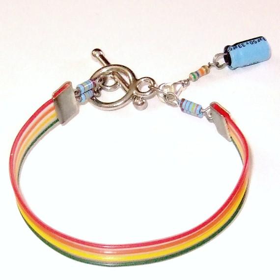 rainbow computer parts bracelet by techcycle on deviantart