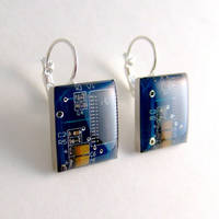 Blue Circuit Board Earrings by Techcycle