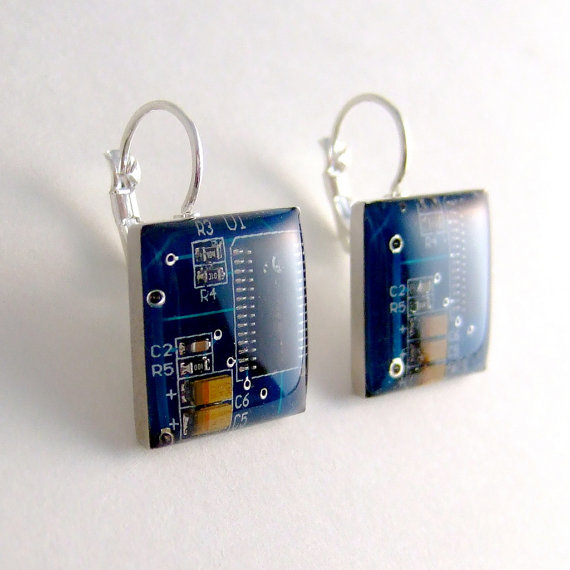 Blue Circuit Board Earrings by Techcycle