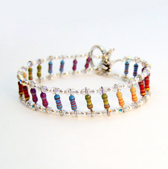 Dazzling Crystal and Rainbow Resistor Bracelet by Techcycle