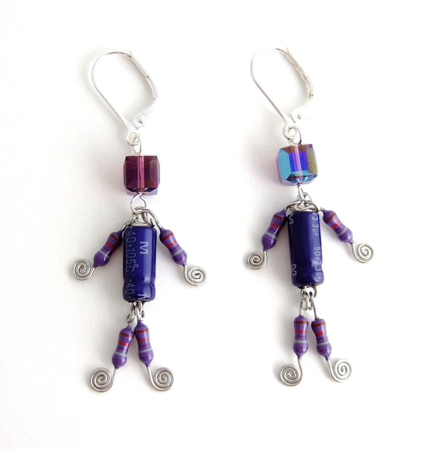 Lucky Capacitor and Resistor Robot Earrings by Techcycle