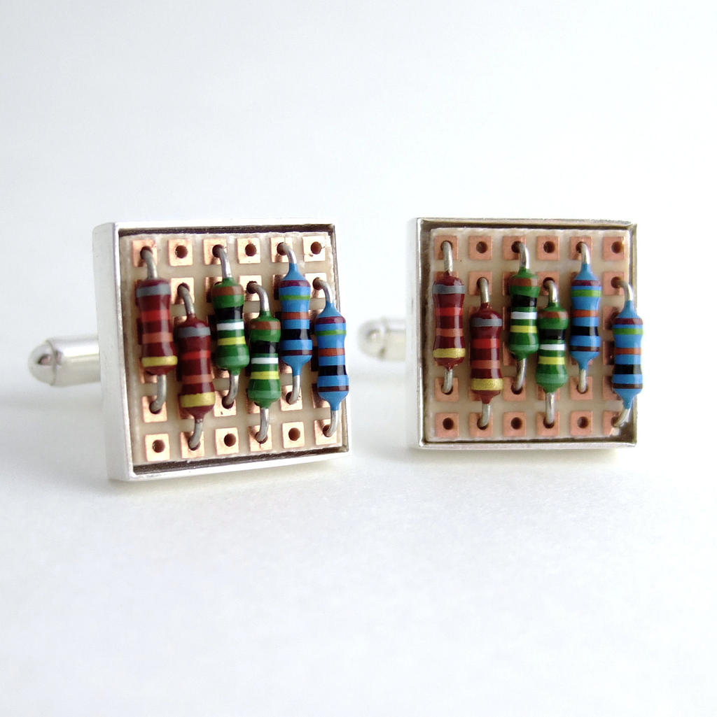 Prototyping Circuit Board and Resistor Cufflinks by Techcycle