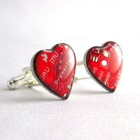 Circuit Board Cufflinks Domed Red Hearts