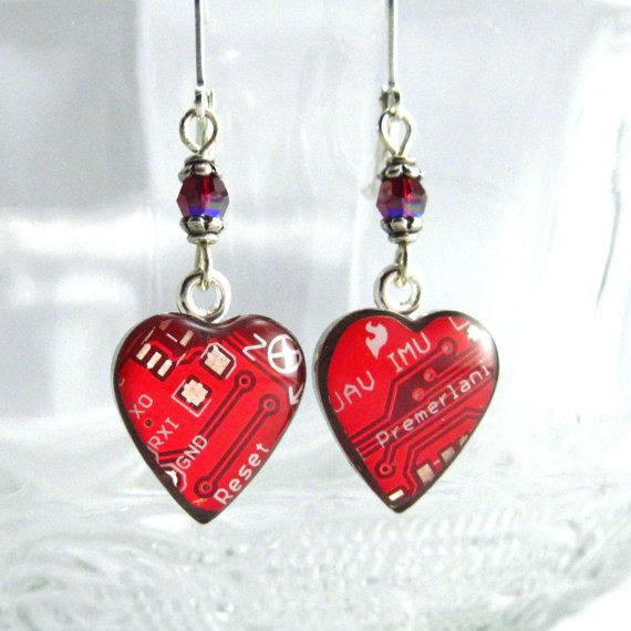 Circuit Board Earrings Domed Red Hearts