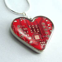 Circuit Board Necklace Domed Red Heart
