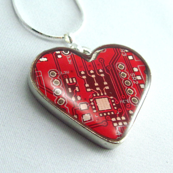 Circuit Board Necklace Domed Red Heart by Techcycle