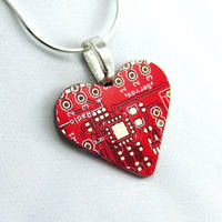 Circuit Board Necklace Red Heart