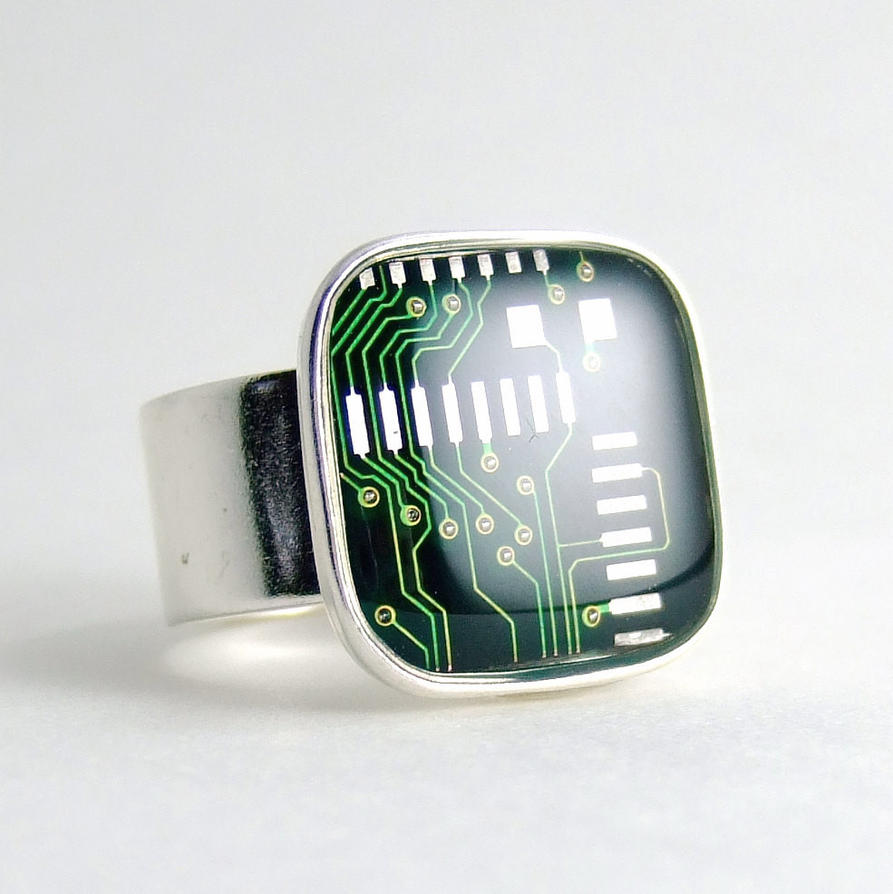 Green Circuit Board Ring by Techcycle