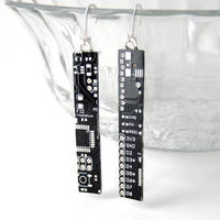 Black Circuit Board Earrings