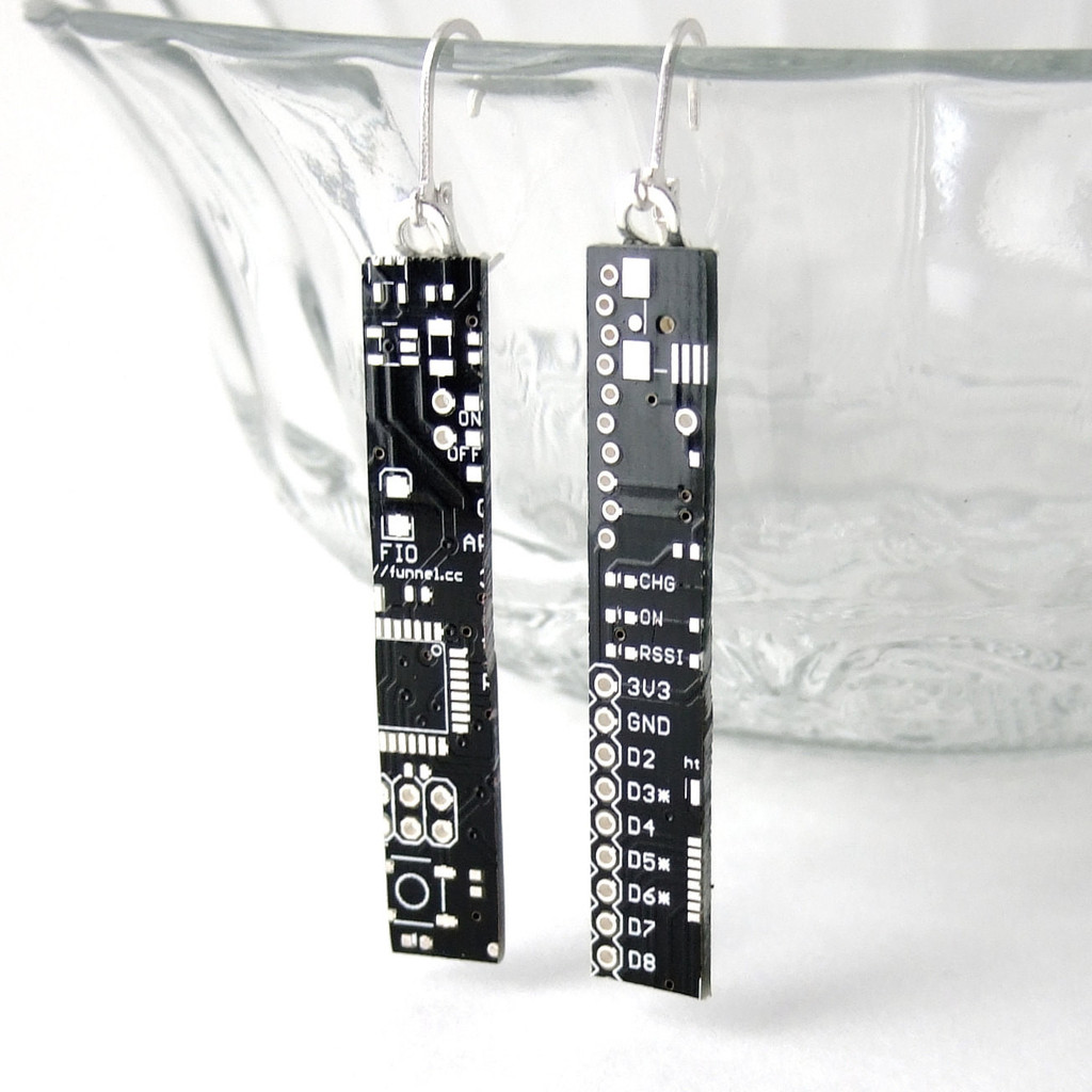 Black Circuit Board Earrings by Techcycle