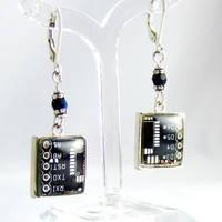 Domed Black Circuit Board Earrings by Techcycle